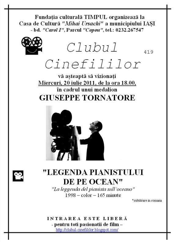 legenda Clubul Cinefililor va invita la film: Legenda pianistului de pe ocean