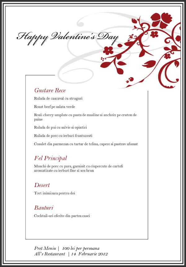 Valentine's Day la Restaurantul All's