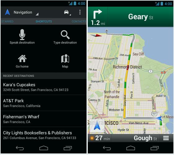 Google Map 6.5 - ecranul de Navigare