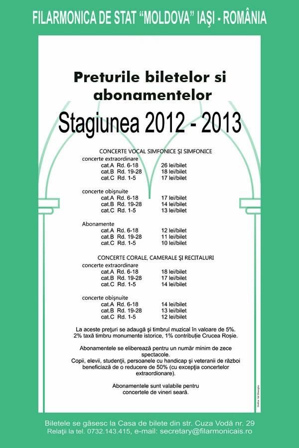BILET-ABON 2012-2013 Filarmonica Iasi