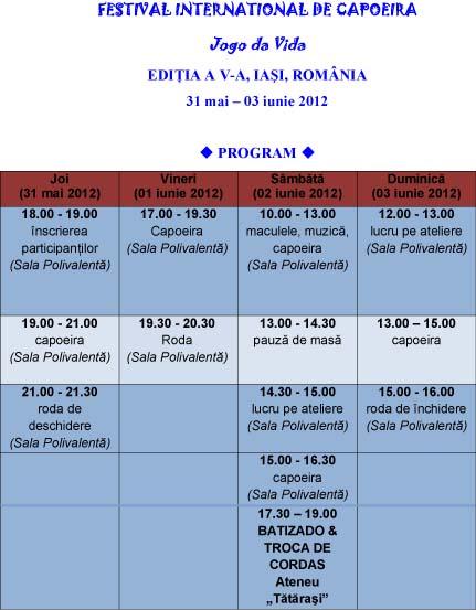 Program Festival capoeira 2012