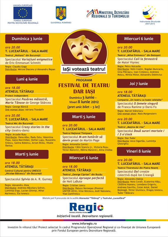 Programul Festivalului de teatru DAR Iasi