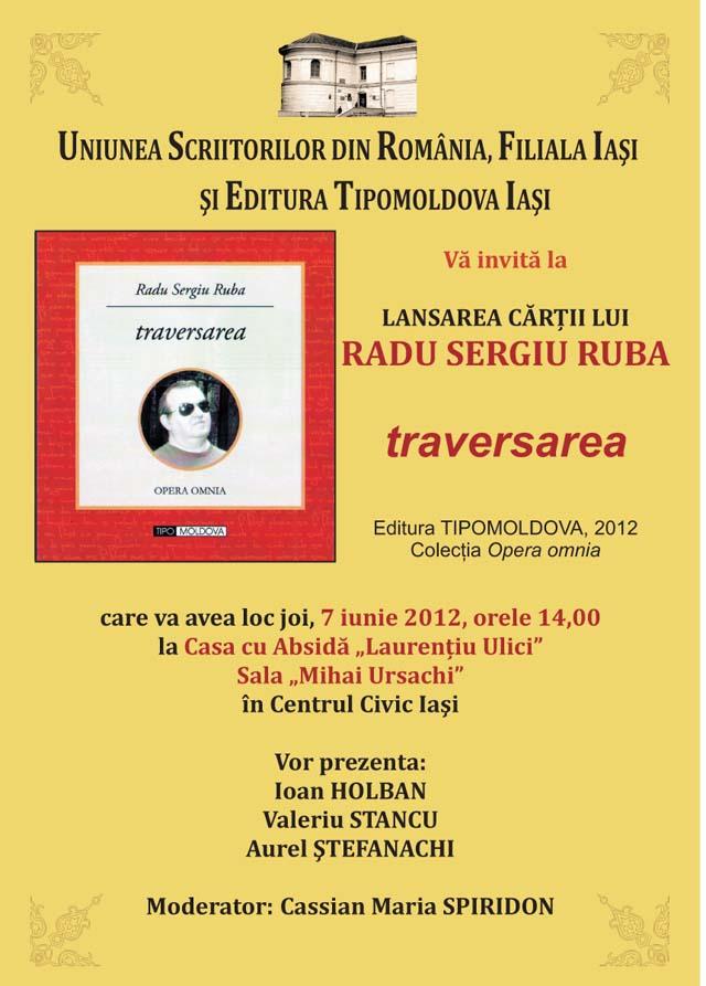 Lansare carte - Traversarea de Radu Ruba