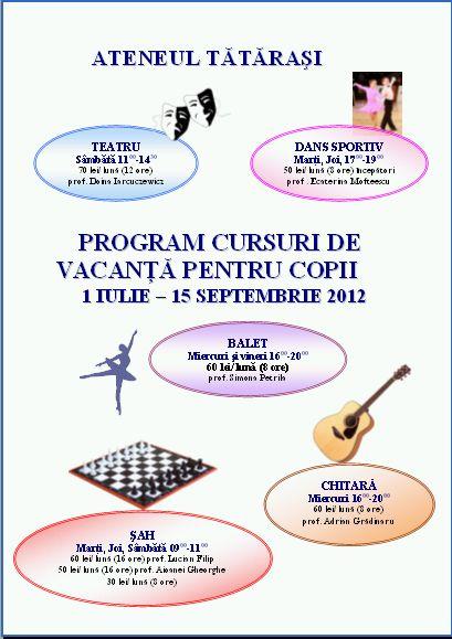 program cursuri copii ateneul tatarasi