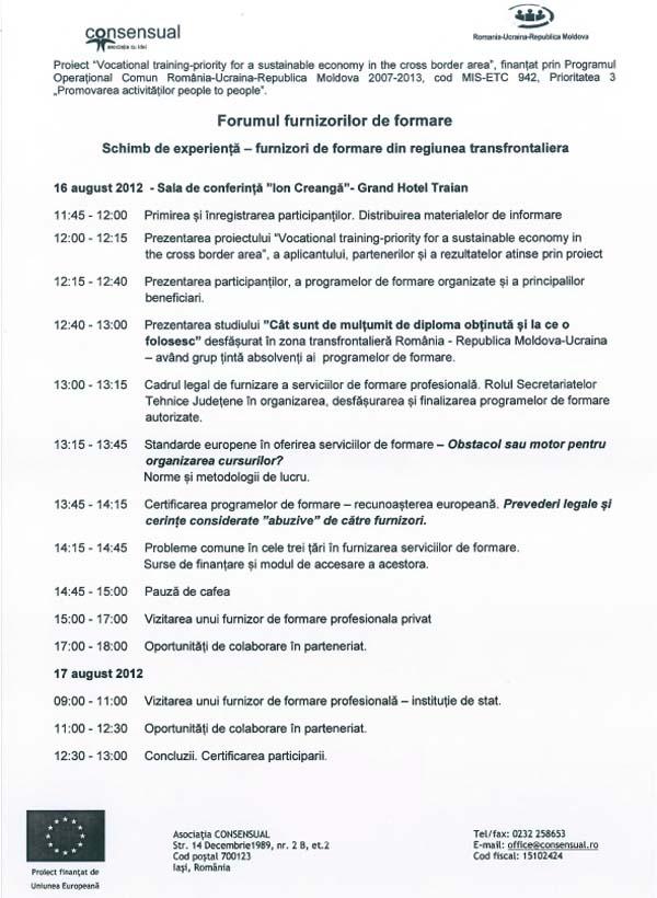 Agenda evenimentului