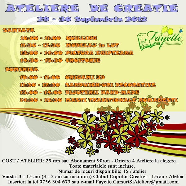 Ateliere de creatie/ 29 si 30 septembrie 2012 afis