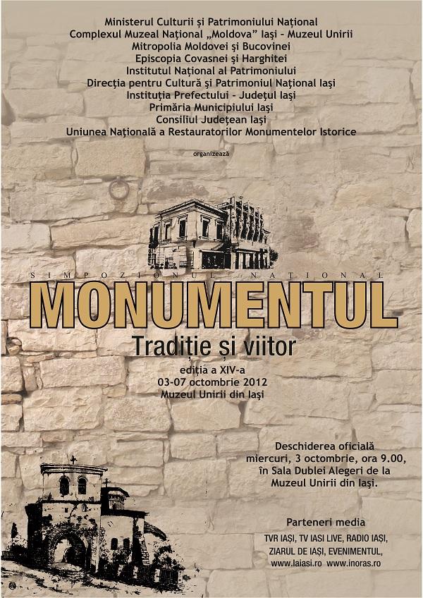 "afis Simpozionul national ""Monumentul - Traditie si viitor""/ 3 - 7 octombrie 2012"