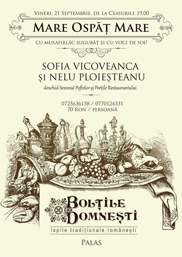 """Sofia Vicoveanca si Nelu Ploiesteanu la inaugurarea oficiala a restaurantulului """"Boltile Domnesti"""""""