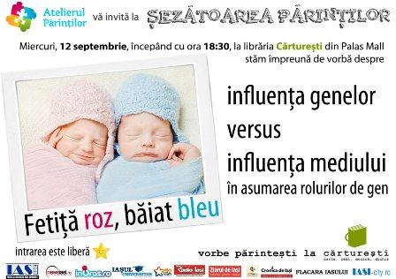 Fetiță roz, băiat bleu: influența genelor versus influența mediului în asumarea rolurilor de gen/ Carturesti Palas Mall