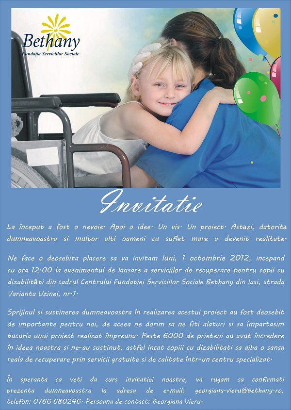 Lansarea serviciilor de recuperare pentru copiii cu dizabilitati din cadrul Centrului Fundatiei Serviciilor Sociale Bethany