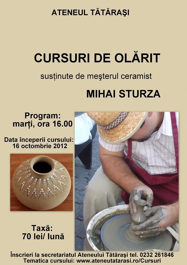 afis Cursuri de olarit la Ateneul Tatarasi din 16 octombrie 2012
