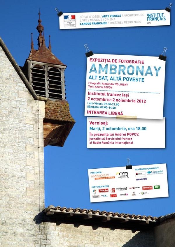 """afis Instalatia Foto-audio: """"Ambronay – alt sat, alta poveste""""/ 2 octombrie– 2 noiembrie 2012"""