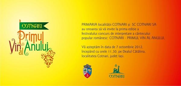 """invitatie Festivalul """"Cotnari - primul vin al anului""""/ 7 octombrie 2012"""