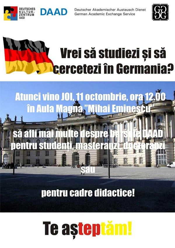 afis Prezentare de burse DAAD pentru studenti, masteranzi, doctoranzi si cadre didactice/ 11 octombrie 2012