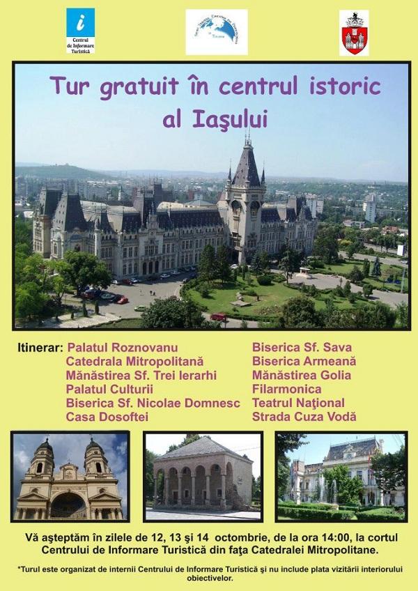 afis Tur gratuit in centrul istoric al Iasului/ 12, 13, 14 octombrie 2012