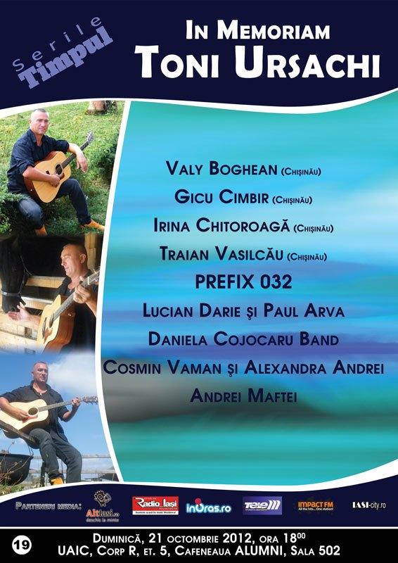 afis Serile timpului: In Memoriam Toni Ursachi/ 21 octombrie 2012