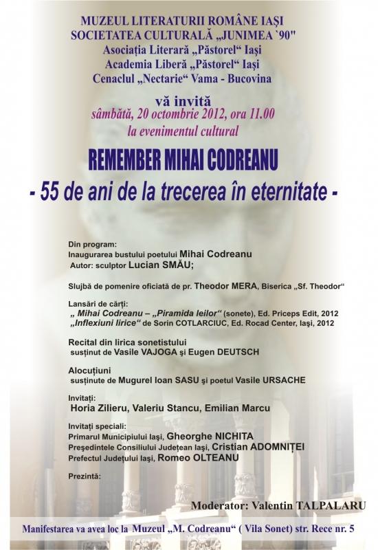 Remember Mihai Codreanu – 55 de ani de la trecerea în eternitate/ 20 octombrie
