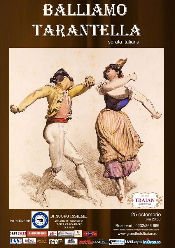 "afis Serata Italiana ""Balliamo Tarantella"" la restaurant Traian/ 25 octombrie 2012"