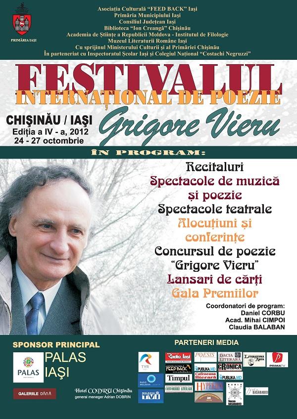 """Festivalul International de Poezie """"Grigore Vieru""""/ 24 – 27 octombrie 2012 afis"""