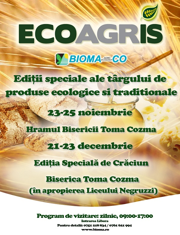Târgul ECOAGRIS – Ediţie specială de Hramul Bisericii Toma Cozma/ 23-25 noiembrie afis