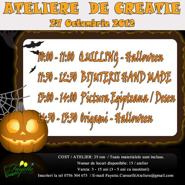Ateliere de Creatie cu tematica de Halloween/ 27 octombrie 2012