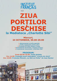 """Ziua Portilor Deschise la Mediateca """"Charlotte Sibi""""/ 24 octombrie 2012"""