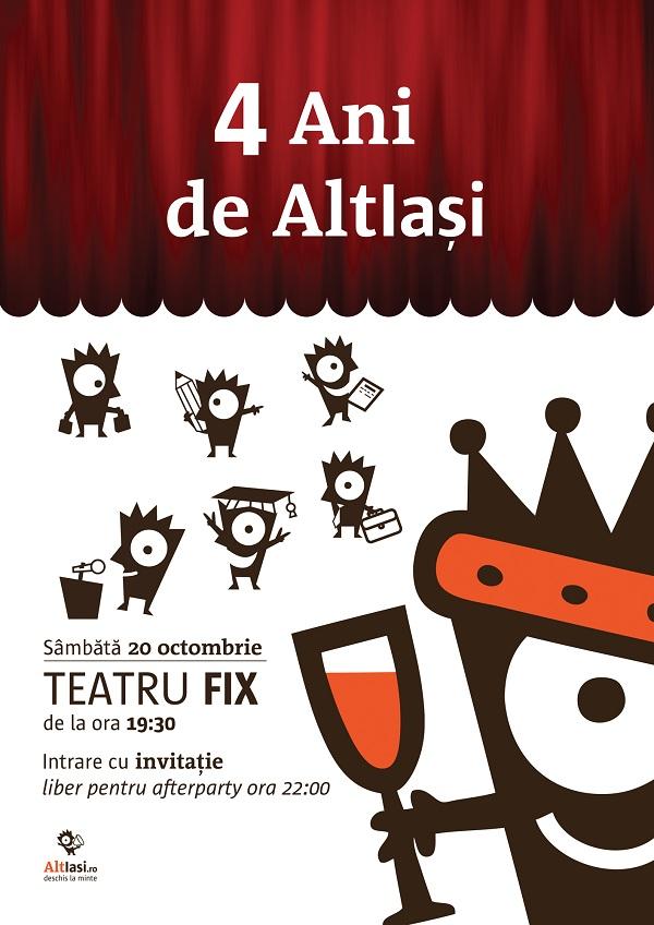 afis AltIasi implineste 4 ani, organizeaza o petrecere si lanseaza un proiect-surpriza/ 20 octombrie