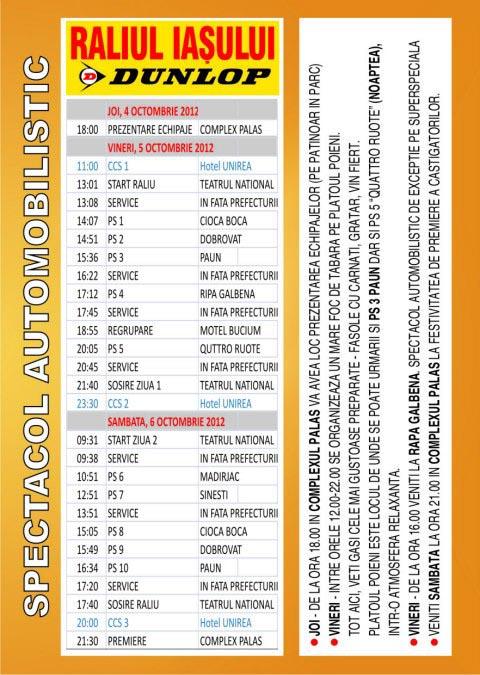 program raliul iasului 2012