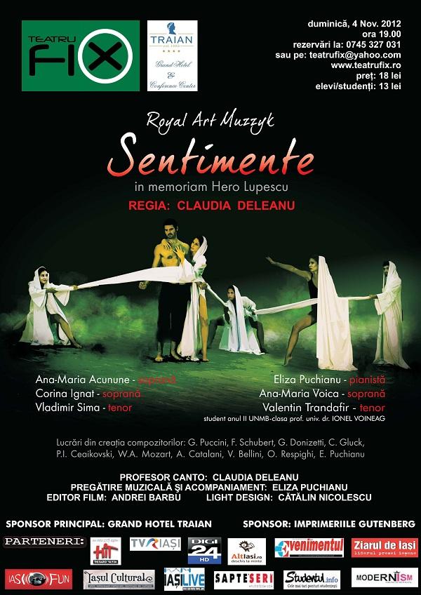 "Spectacol liric contemporan ""Sentimente"", in memoriam Hero Lupescu/ 4 noiembrie afis"