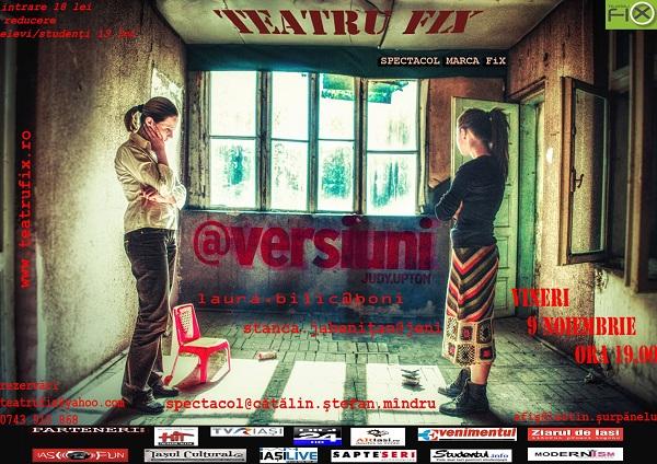 """Spectacolul """"@VERSIUNI""""/Teatru'Fix, 9 noiembrie afis"""