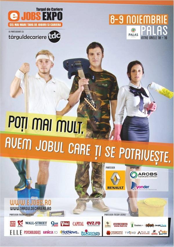 Targul de Joburi si Cariere eJobs EXPO Iasi/ 8 si 9 noiembrie afis