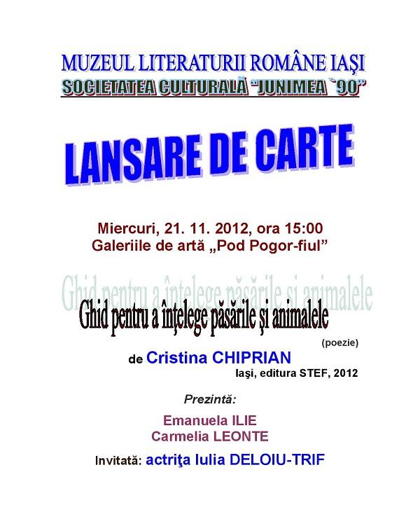 """""""Ghid pentru a intelege pasarile si animalele"""" de Cristina Chiprian afis"""