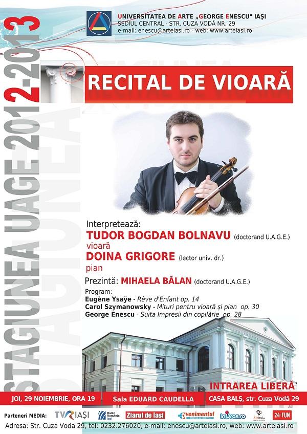 Recital de vioara - Tudor Bogdan Bolnavu/ 29 noiembrie