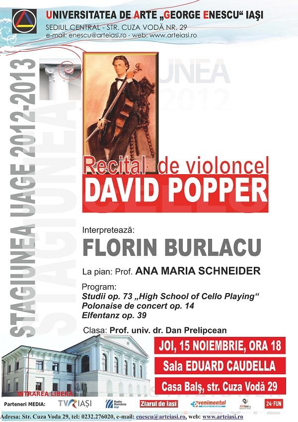 Recitalul de violoncel - DAVID POPPER/ 15 noiembrie afis