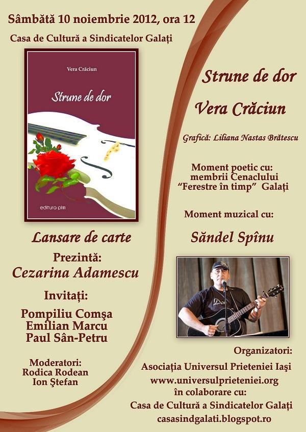 """""""Strune de dor"""", volumul de poezie de Vera Crăciun afis"""