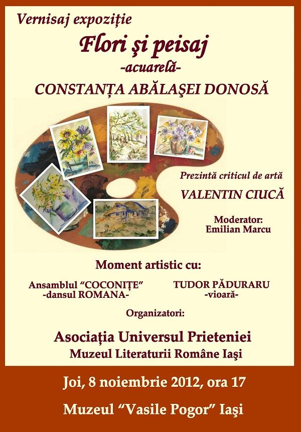"""Expoziţia """"Flori şi peisaj-acuarelă""""/ 8 noiembrie afis"""