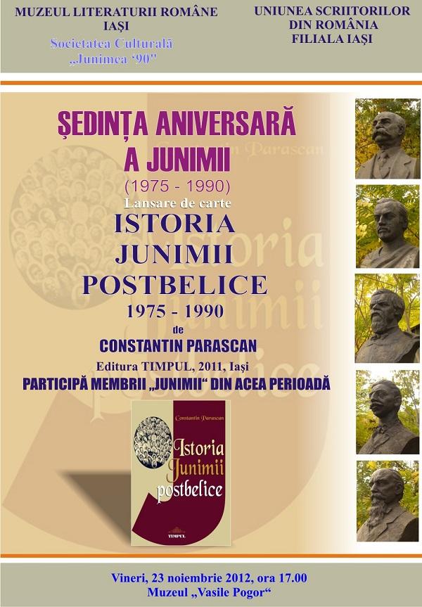 """Sedinta Aniversara a Junimii si lansare de carte (""""Istoria Junimii postbelice 1975-1990"""", de Constantin PARASCAN) afsi"""