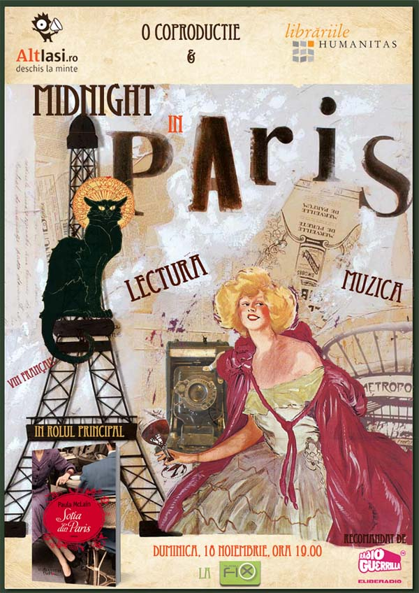 Afis midnight in Paris Teatru Fix