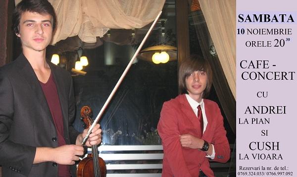 Concert sustinut de Nastase Andrei (pian) si Cush Gisca (vioara) la Cafeneaua Kilometrul Zero/ 10 noiembrie