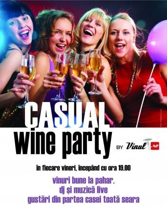 Casual Wine Party în fiecare joi la Cafepedia Iasi afis
