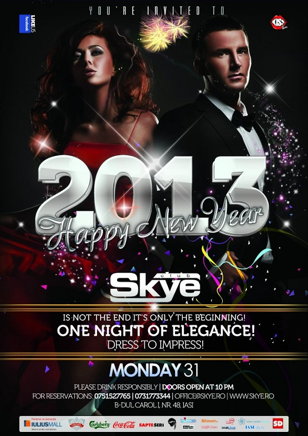 Revelion 2012 in Club Skye Iasi afis