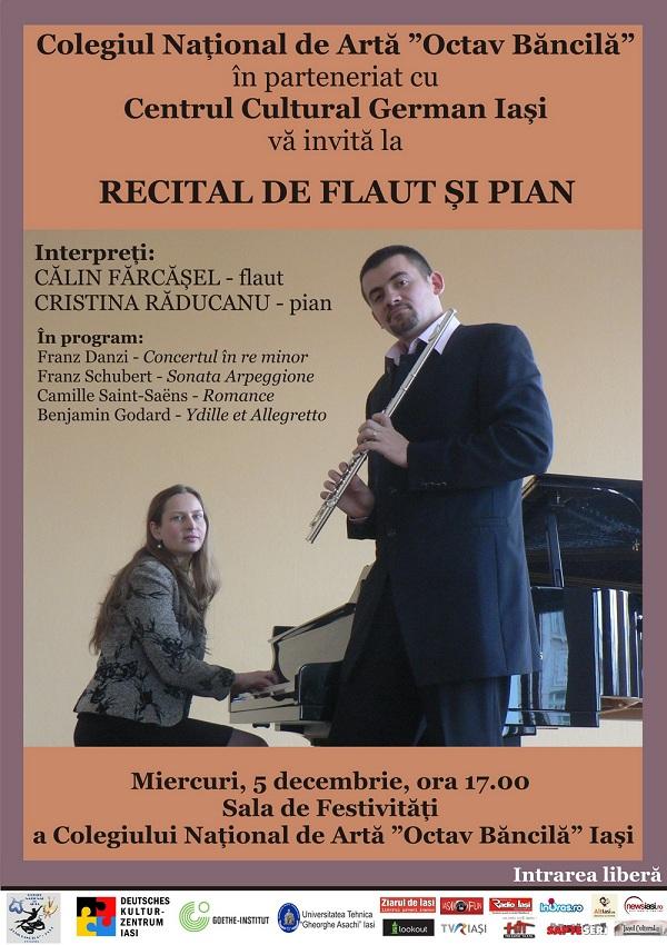 Concert de flaut și pian cu Călin Fărcășel și Cristina Răducanu/ 5 decembrie 2012  afis