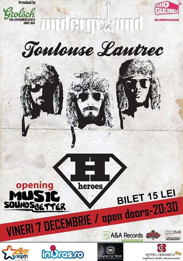 Concert Toulouse Lautrec in Underground Pub/ 7 decembrie afis