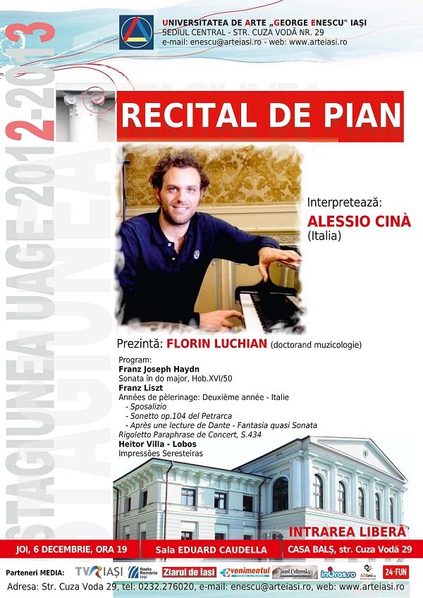 Recital de pian sustinut de Alessio Cina/ 6 decembrie afis