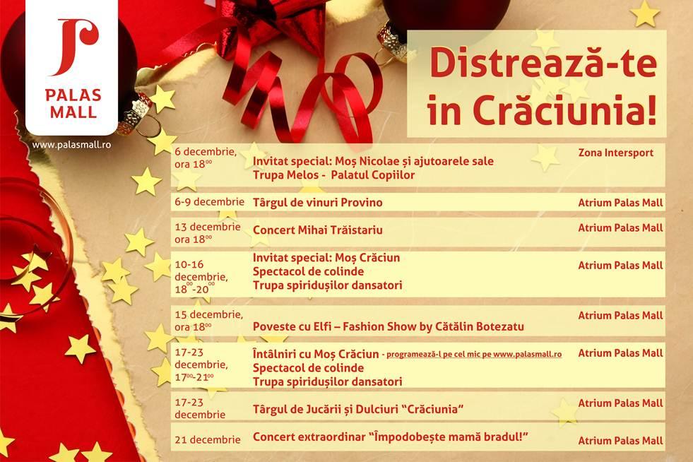 Programul de la Palas Mall in luna decembrie 2012 afis
