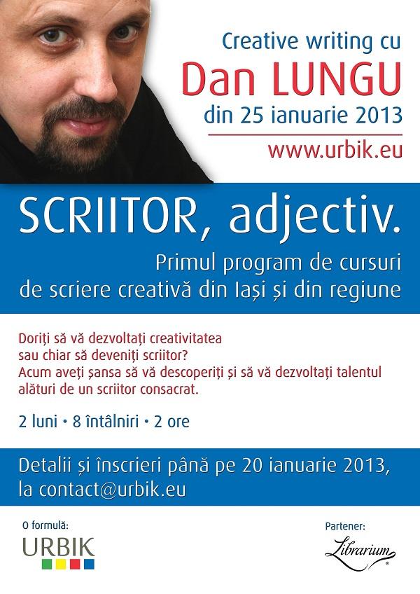 Invata scrierea creativa cu Dan Lungu/ 25 ianuarie - 25 martie afis
