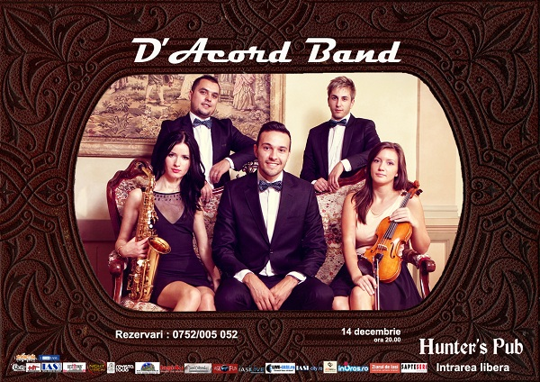 Concert D'acord Band in Hunter's Pub/ 14 decembrie afis