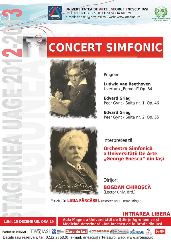 """Concert simfonic - Orchestra simfonică a Universităţii de Arte """"George Enescu"""" din Iaşi afis"""