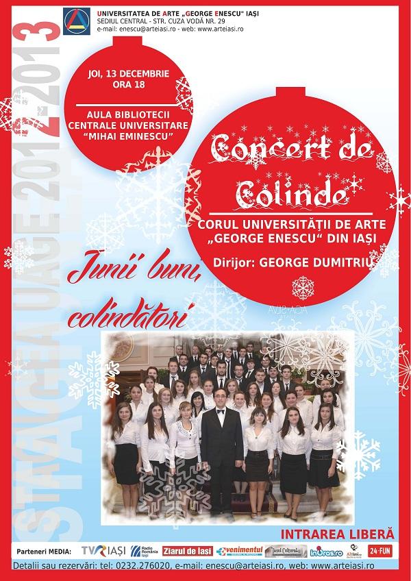 """Concert de colinde - Corul Universităţii de Arte """"George Enescu"""" din Iaşi afis"""