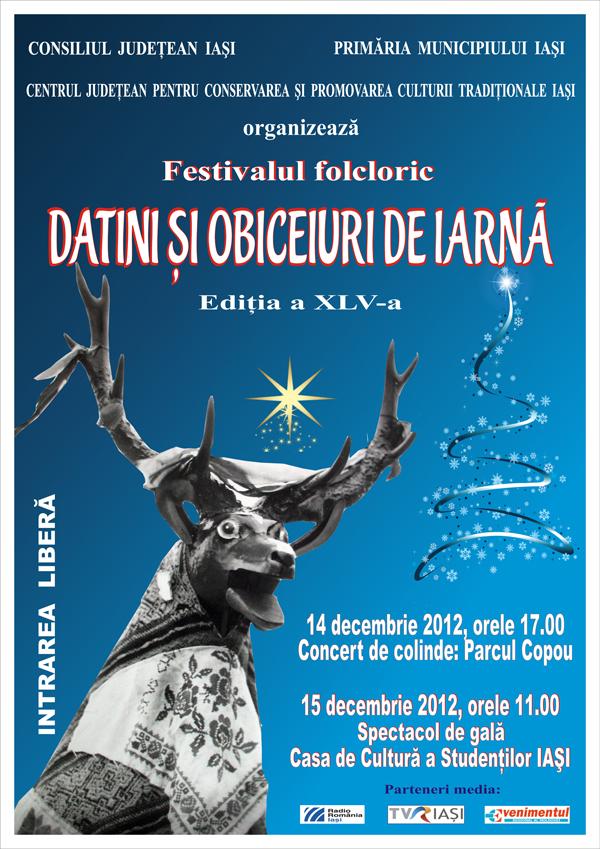 """Festivalul Folcloric """"Datini şi obiceiuri de iarnă""""/ 14 - 16 decembrie afis"""